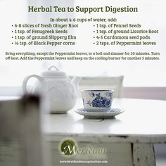 Tea to soothe and support digestion. >>Big Tree School of Natural Healing