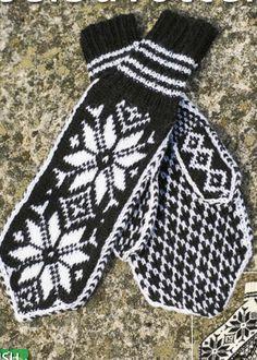Kit 25 - Selbuvotter i Sisu Garn Pattern in Norwegian Knitting Books, Knitting Charts, Free Knitting, Knitting Patterns, Fingerless Mittens, Knit Mittens, Mitten Gloves, Norwegian Style, Mittens Pattern