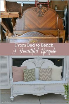 DIY Furniture Plans & Tutorials : An old bed was beautifully converted into a lovely bench in this DIY upcycle.