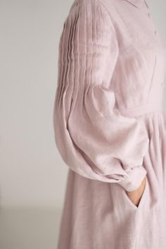 Beth Dress in Dusty Pink with long sleeves, Linen Dress Kurti Sleeves Design, Sleeves Designs For Dresses, Sleeve Designs, Muslim Fashion, Hijab Fashion, Fashion Outfits, Gothic Fashion, Fashion Tips, Pakistani Dresses Casual