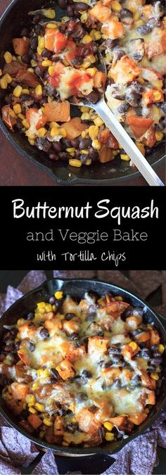 Butternut Squash and Veggie Bake - loaded with vegetables, topped with cheese and served with tortilla chips. Option to spice it up with jalapeno and hot sauce. Dinner is served!