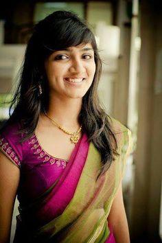 Classic pink and green saree combination Sari Blouse, Saree Blouse Designs, Indian Attire, Indian Wear, Pakistani Outfits, Indian Outfits, Plain Saree, Half Saree, Beautiful Saree
