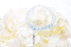 """SANTOL"" - Aquamarine Bead Bracelet with Sterling Silver + Diamond Charm; by Majade"