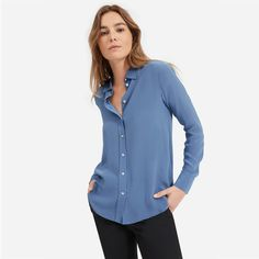 Women's Clean Silk Relaxed Shirt by Everlane in French Blue French Silk, French Blue, Modern Essentials, Blue Blouse, Work Fashion, Capsule Wardrobe, Travel Wardrobe, Style Inspiration, My Style