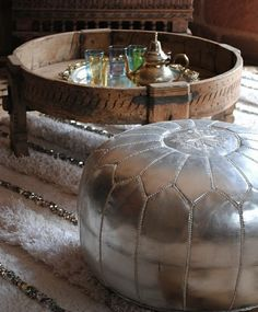 Handira, Moroccan wedding blanket, silver ottoman: Beyond Marrakech
