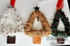 Christmas Tree Wreath Tutorial - Stubbornly Crafty #Christmas #Wreath