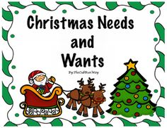 Teach your first and second graders about Needs and Wants with this little activities reader! What better way to get your students excited about Needs and Wants than to apply it to their real world by using Santa and Christmas to introduce and compare Needs and Wants.