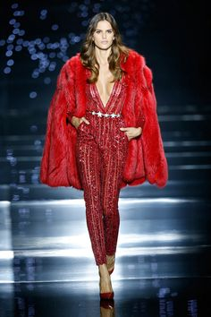 Zuhair Murad 2016 Haute Couture Collection - Red fox fur coat worn with a fire red stone and sequin embellished silk tulle striped jumpsuit with plunging neckline
