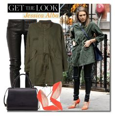 """""""Get The Look: Jessica Alba"""" by hamaly ❤ liked on Polyvore featuring Preen, Kurt Geiger, MaxMara, GetTheLook, parka, leatherpants, jessicaalba and militarytrend"""