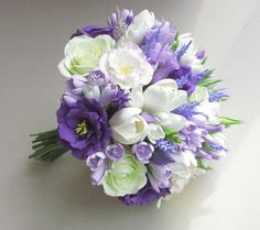 Beautiful bouquet with freesias, white tulips, violet eustoma and roses. All the flowers and each stamen is made by hand from air dry polymer clay. Diameter Height Bouquet is very light gramm), all flowers are flexible. PLEASE, read full information about Tulip Wedding, Purple Wedding Bouquets, Rose Wedding Bouquet, Bride Bouquets, Bridal Flowers, Rose Bouquet, Freesia Bouquet, Flower Bouquets, Bridesmaid Bouquets
