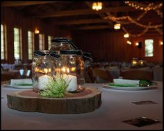 like the wood slices for centerpieces
