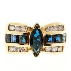 Marquise Sapphire Diamond Gold Ring
