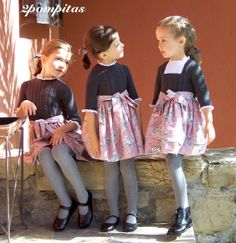 Grey hand knitted bodice and dusty pink toile de Jouy winter girls dresses by 2pompitas.