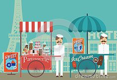 Vintage pastry and ice cream vendor in paris /illustration