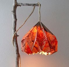 How to make gorgeous pendant lamp with an unique origami lampshade from an up-cycled paper bag, and how to make your own hanging lamp cord!