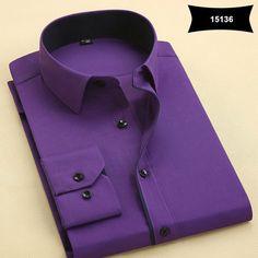 New Arrival Mens Turn-Down Collar Formal Shirts Men Long Sleeve Slim Fit Casual Shirt Mens Solid Color/Plaid Dress Shirts