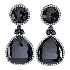 71 Carats of Black Diamonds Drop Earrings | From a unique collection of vintage chandelier earrings at http://www.1stdibs.com/jewelry/earrings/chandelier-earrings/