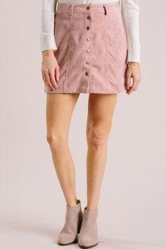 8dbeb9653 Kori Mauve Corduroy Button Skirt