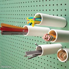 Pegboard Cubbyholes - Here's a tool storage technique for all those slender tools and shop accessories. Cut short lengths of PVC pipe and pipes work well for most items) and slide them over pegboard hooks. Then load them up with file Metal Pegboard, Pegboard Storage, Tool Storage, Garage Storage, Storage Ideas, Tool Pegboard, Craft Storage, Paper Storage, Black Pegboard
