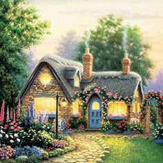 Chinatera 5d Full Diamond Mosaic Painting DIY Counted Paint By Number Kits Beautiful Cabin 3030cm (B)