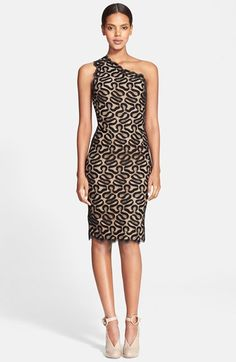 Stella McCartney One-Shoulder Ribbon Lace Sheath Dress available at #Nordstrom