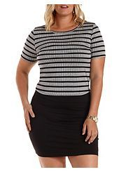 Plus Size Ribbed, Striped & Cropped Tee Price:$16.99