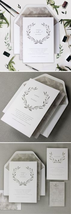 Marble Grey with Silver Foil Watercolor Wedding Day Invitation