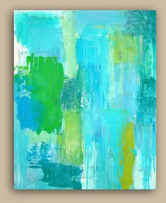 turquoise abstract acrylic painting