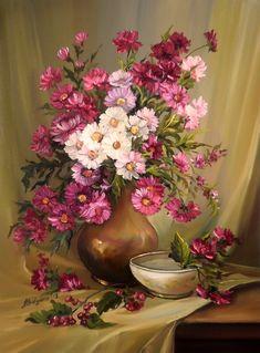 Fruit Painting, Oil Painting Flowers, Watercolor Flowers, Watercolor Paintings, Painting Still Life, Still Life Art, Arte Floral, Vintage Flowers, Flower Art