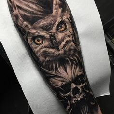 Owl Skull Dark Arm tattoo
