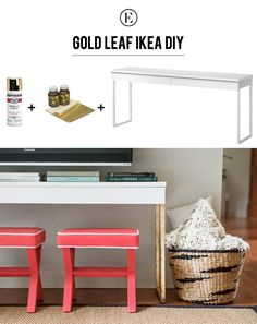 Diy Gold Leaf Ikea Console For The Everygirl