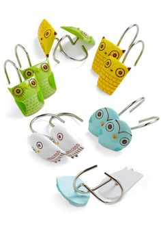 Owl Clean Shower Curtain Rings, #ModCloth