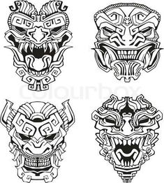 Find Aztec Monster Totem Masks Set Black stock images in HD and millions of other royalty-free stock photos, illustrations and vectors in the Shutterstock collection. Inka Tattoo, Hawaiianisches Tattoo, Mask Tattoo, Thai Tattoo, Samoan Tattoo, Tattoo Flash, Tattoo Drawings, Polynesian Tattoos, Mayan Tattoos