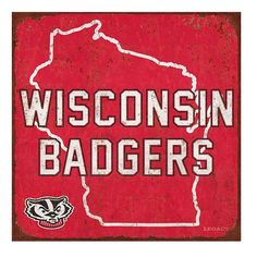 Legacy Athletic Wisconsin Badgers State Tin Sign, Multicolor