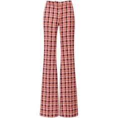 Derek Lam Orange Plaid Flared Leg Trousers (25 510 UAH) ❤ liked on Polyvore featuring pants, red trousers, orange pants, derek lam trousers, derek lam pants and red tartan pants