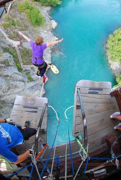 With water that blue...I just might have to do this!  Kawarau Bridge Bungy, New Zealand.