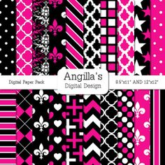 Pink Black and White Digital Papers  Matching Solids by Angilla, $3.99