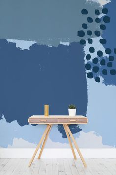 Blue Abstract Painting Wall Mural A Contemporary Take On Distressed Walls Marrying Together A Palette Of Punchy Bold Blues With Carefree Strokes And Texture In This Super Stylish Wallpaper Design It 39 S Incredibly Versatile And Would Work In Any Room Wall Paint Patterns, Painting Patterns, Painting Wallpaper, Mural Painting, Wall Wallpaper, Diy Painting, Distressed Walls, Blue Abstract Painting, Inspiration Wall