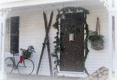 Christmas porch.  Love the skis.