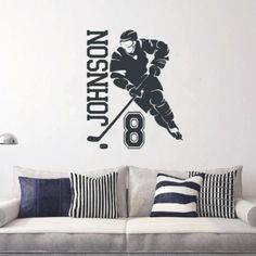 ALL HOCKEY STICKERS Football Stickers, Number Stickers, Wall Stickers Room, Wall Decals, Hockey Bedroom, Decorate Your Room, Hockey Players, Home Decor Bedroom, Wall Colors