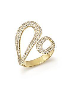 Ippolita 18K Cherish Bypass Ring with Diamonds, Size 7