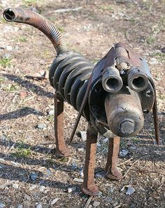 piddle pooch front view, Rusty Relics Metal Art