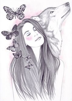New wolf love art artworks ideas Pencil Art Drawings, Art Drawings Sketches, Cute Drawings, Animal Drawings, Wolf Artwork, Wolf Painting, Arte Sketchbook, Wolf Love, Wolf Tattoos