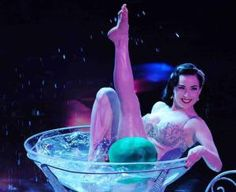 Burlesque perfomer Dita Von Teese in a martini glass; its just like my life!