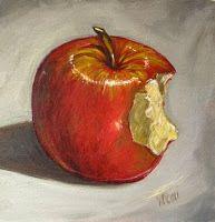daryl gortner artist | Bite of an Red Apple-Oil Painting