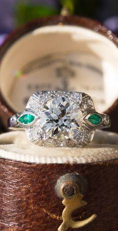 Vintage Old Euro Diamond Filigree Engagement Ring w/ Emeralds
