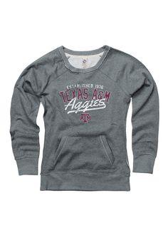 Texas A&M Aggies Juniors Grey Flashback Crew Sweatshirt - Image 1