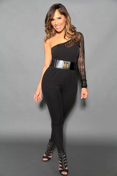 119d2c5831a Sexy Belted Black Laced Single-Sleeve Jumpsuit