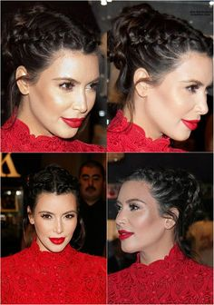 Celebrities' Looks – Kim Kardashian Best Hair Styles 2014 with Remy Human Hair Extensions Kim Kardashian Braids, Looks Kim Kardashian, 2015 Hairstyles, Braided Hairstyles, Cool Hairstyles, Braided Updo, Step Hairstyle, Hairstyle Tutorials, Hair Styles 2014