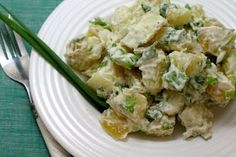 Simply Cooked: creamy potato salad - but with no mayo!  Substitute for the dairy based yogurt and sour cream then these will be gf, df,soyf